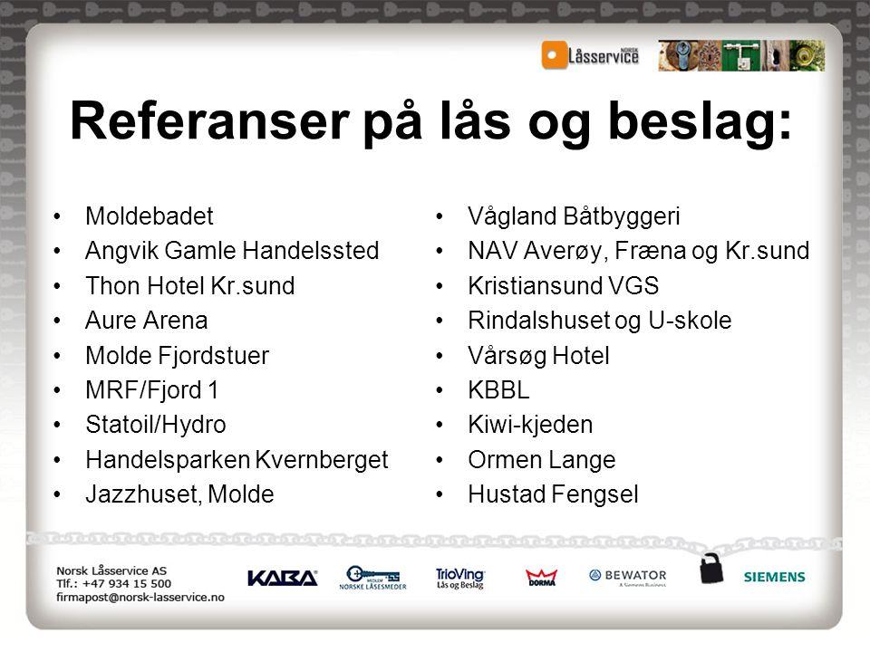 Referanser på lås og beslag: