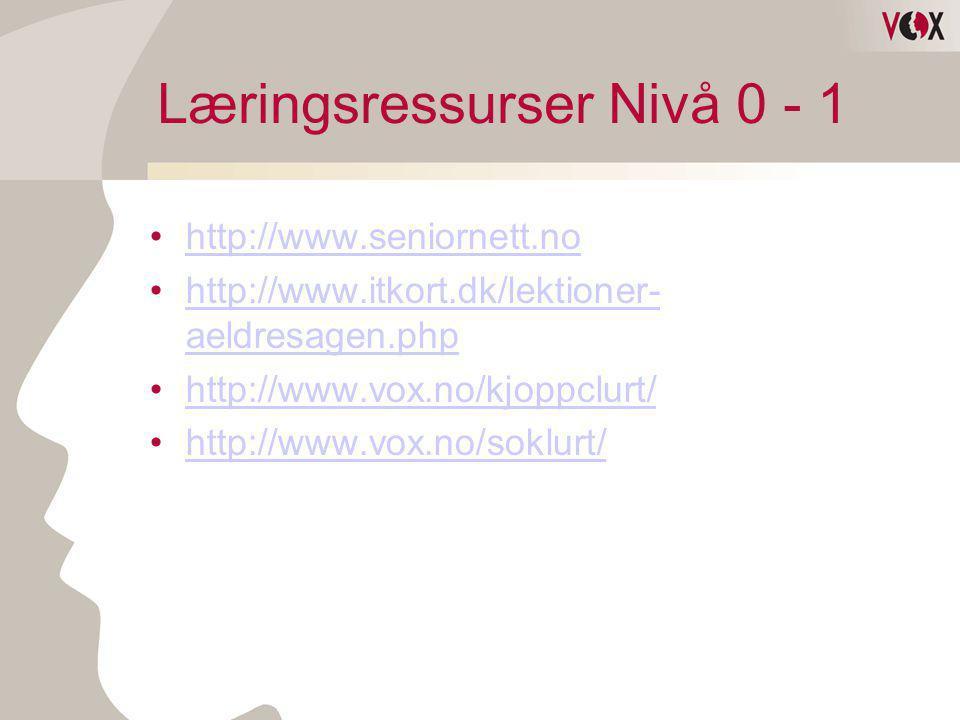 Læringsressurser Nivå 0 - 1