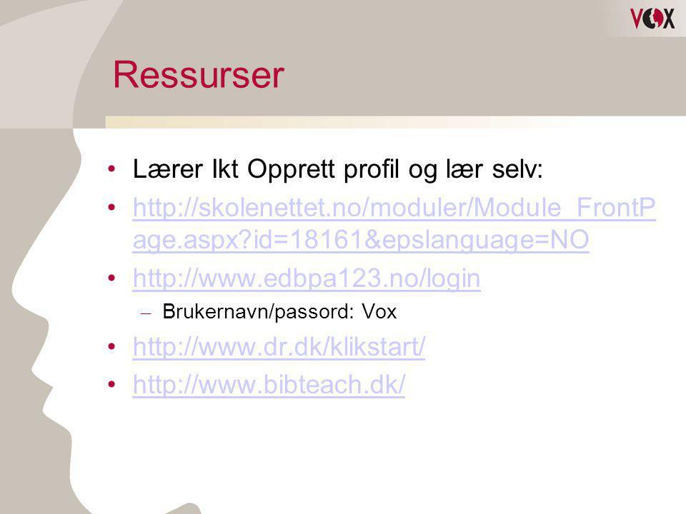 Ressurser Lærer Ikt Opprett profil og lær selv:
