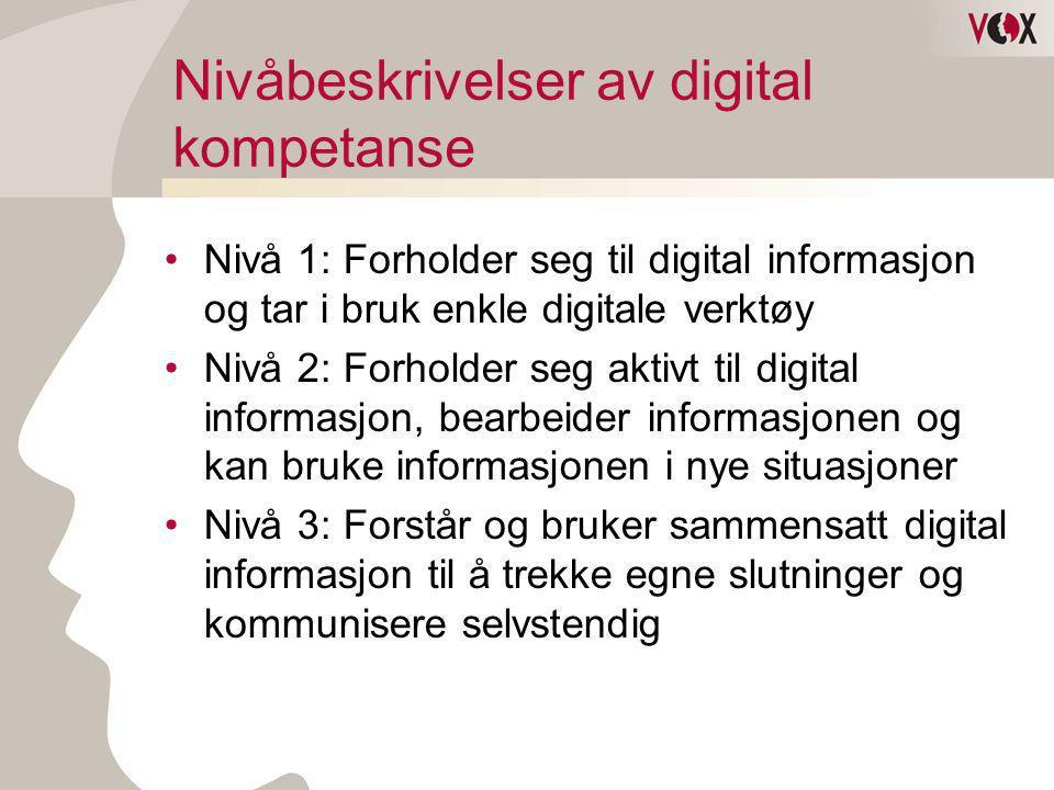 Nivåbeskrivelser av digital kompetanse