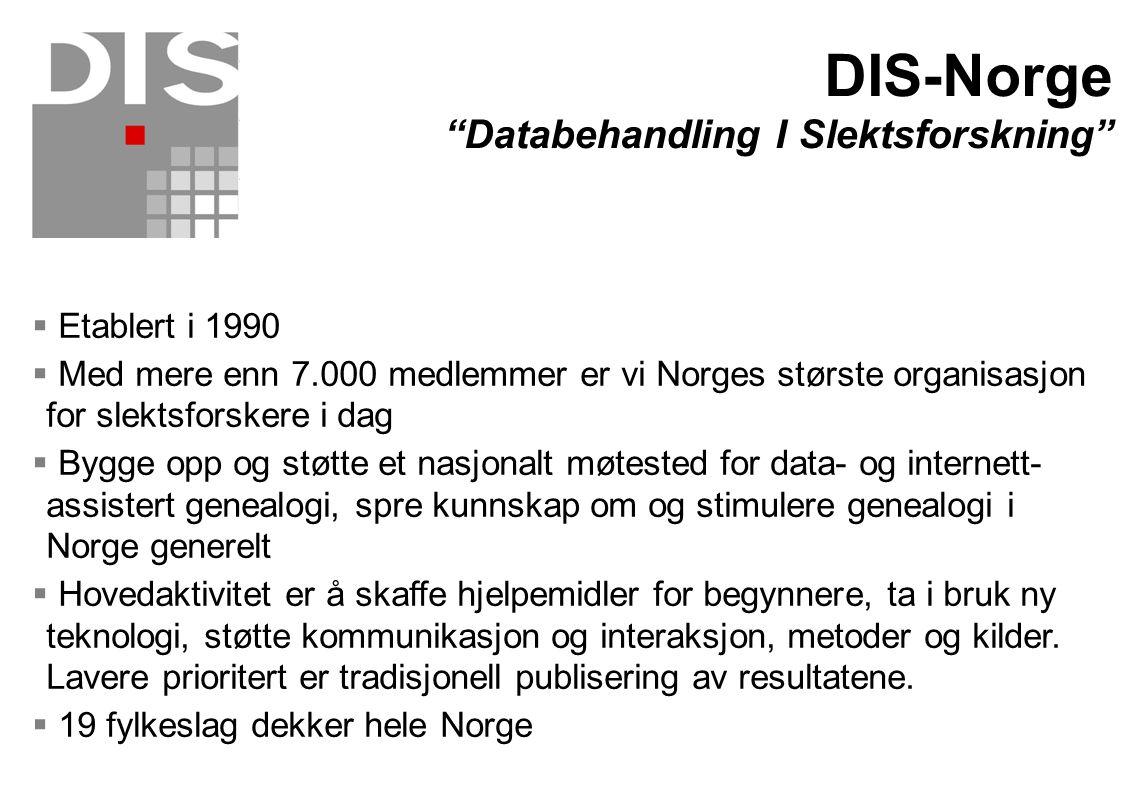 DIS-Norge Databehandling I Slektsforskning