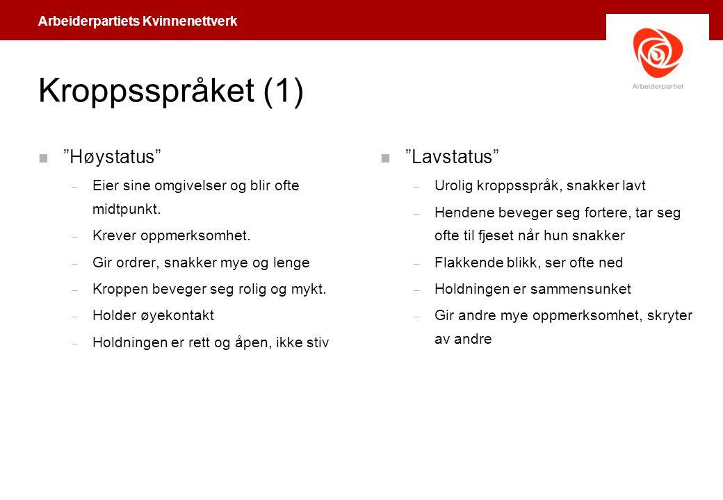 Kroppsspråket (1) Høystatus Lavstatus