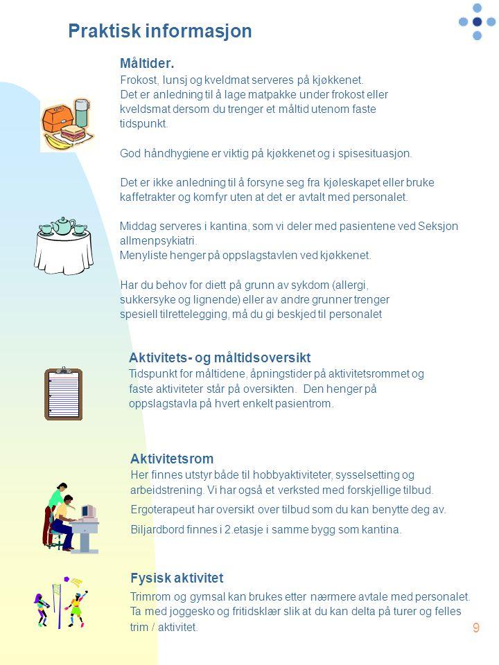 Praktisk informasjon Måltider. Aktivitets- og måltidsoversikt