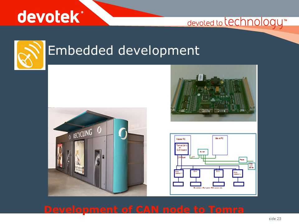 Development of CAN node to Tomra