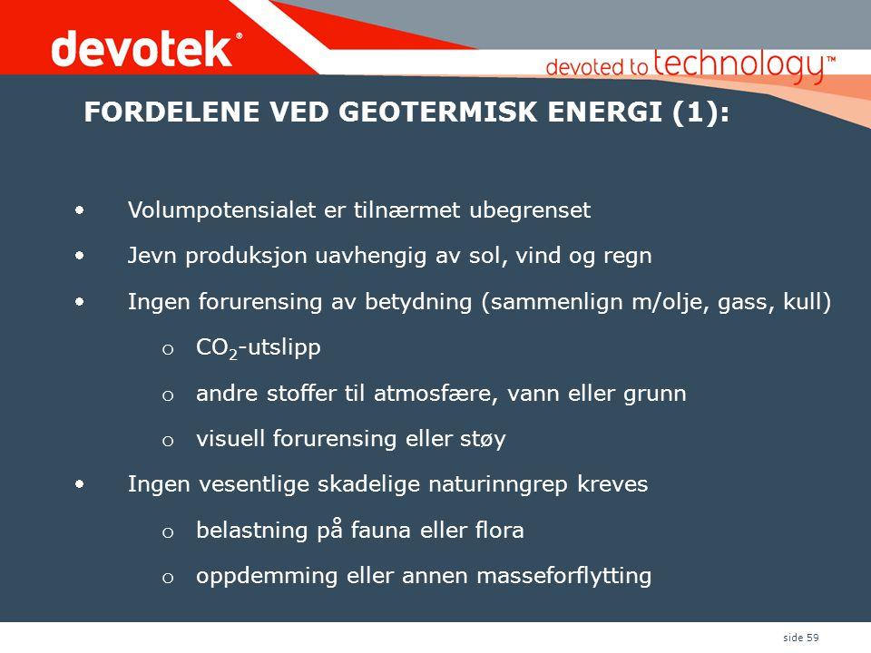 FORDELENE VED GEOTERMISK ENERGI (1):