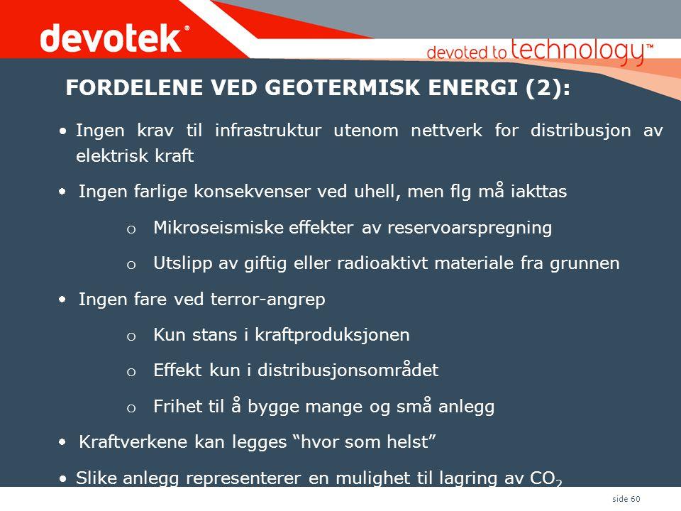 FORDELENE VED GEOTERMISK ENERGI (2):