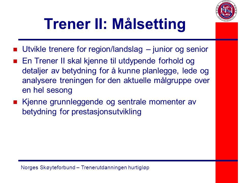 Trener II: Målsetting Utvikle trenere for region/landslag – junior og senior.