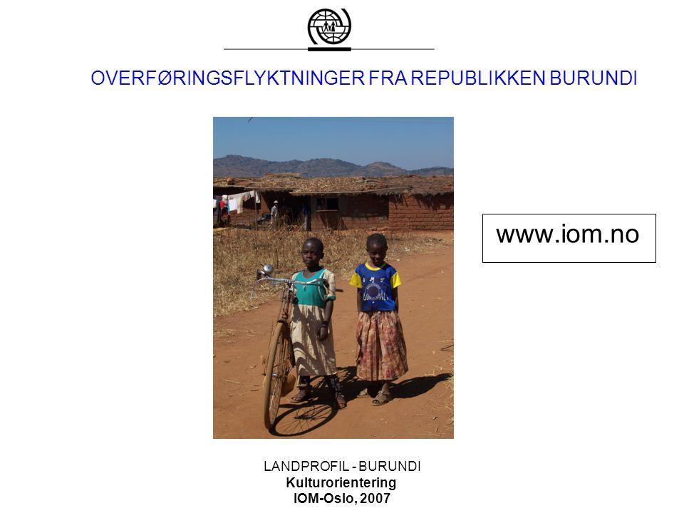 www.iom.no OVERFØRINGSFLYKTNINGER FRA REPUBLIKKEN BURUNDI