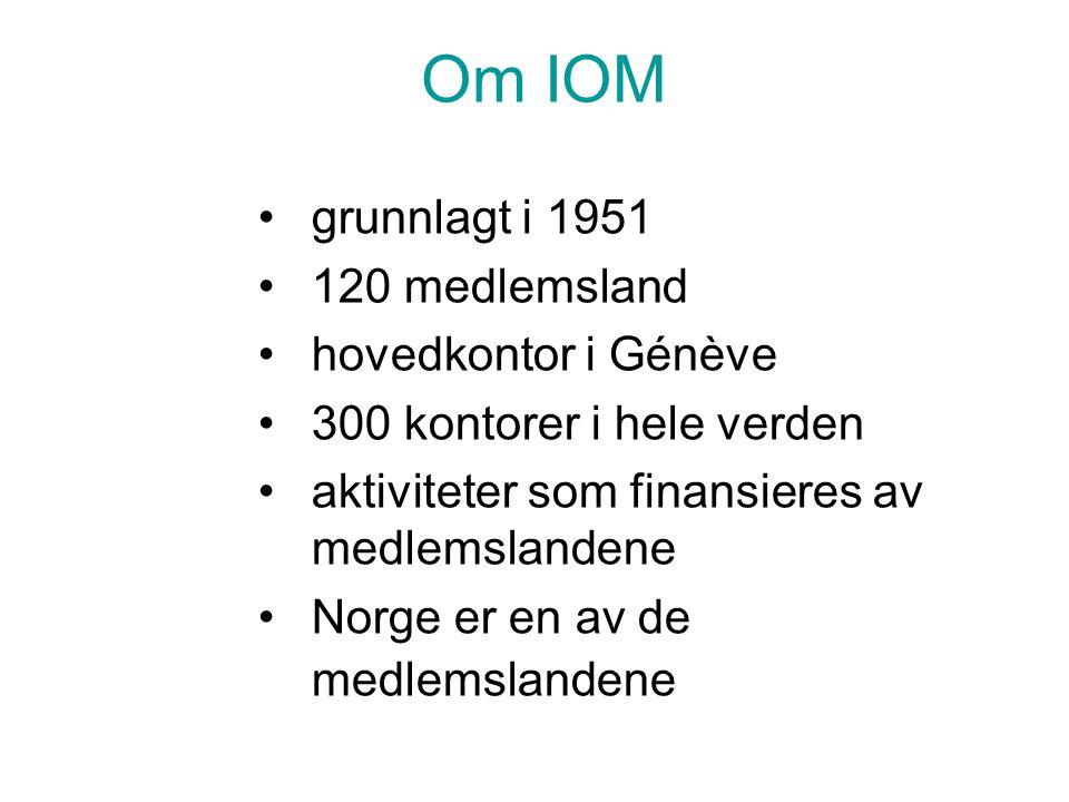 Om IOM grunnlagt i 1951 120 medlemsland hovedkontor i Génève