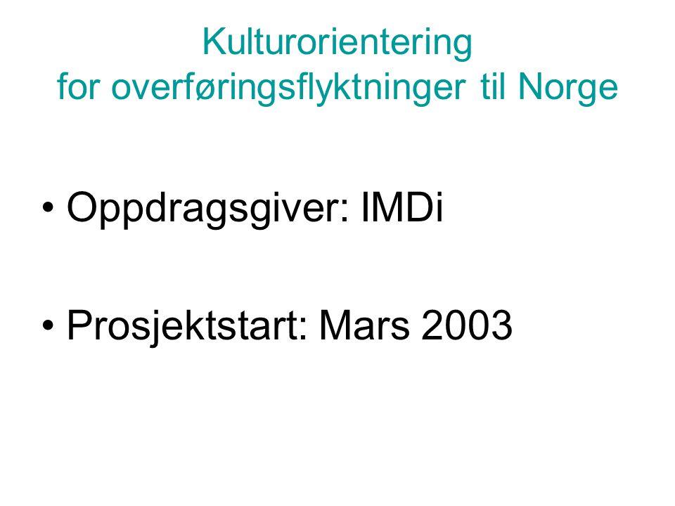 Kulturorientering for overføringsflyktninger til Norge