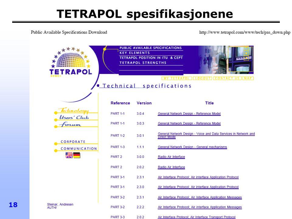 TETRAPOL spesifikasjonene