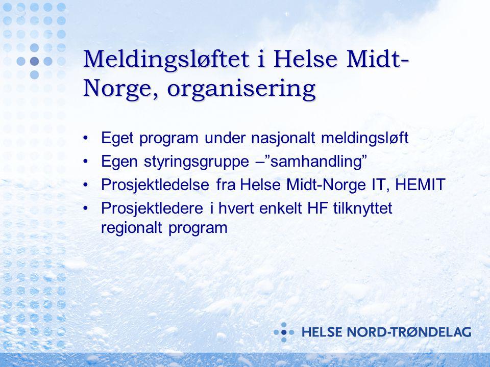 Meldingsløftet i Helse Midt-Norge, organisering