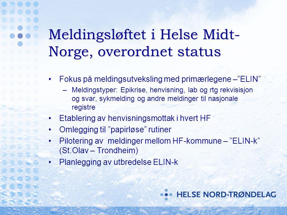 Meldingsløftet i Helse Midt-Norge, overordnet status