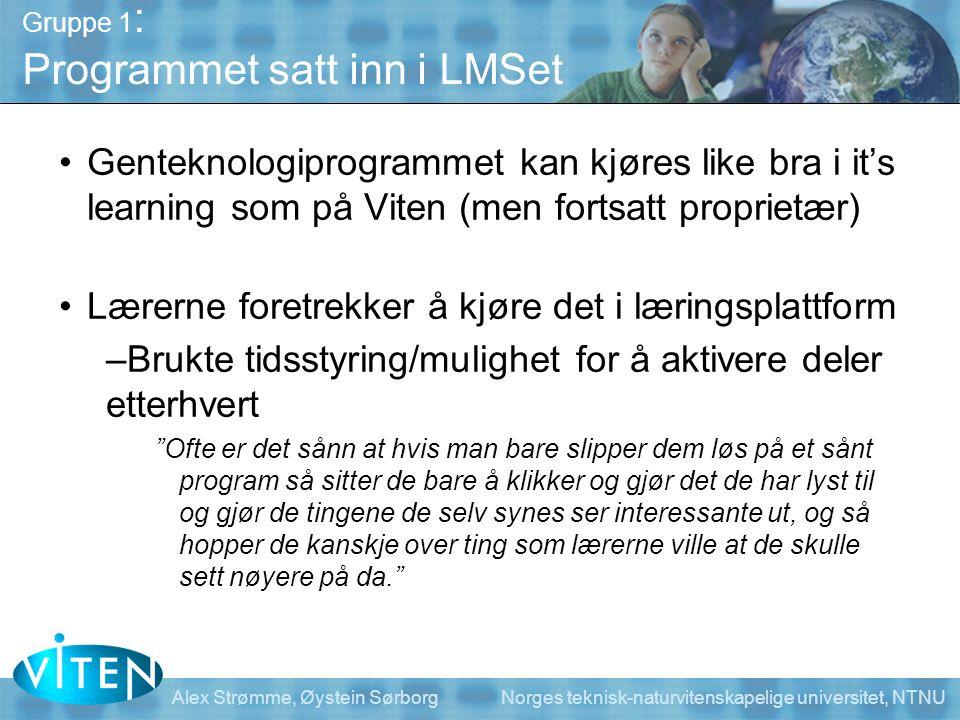 Gruppe 1: Programmet satt inn i LMSet