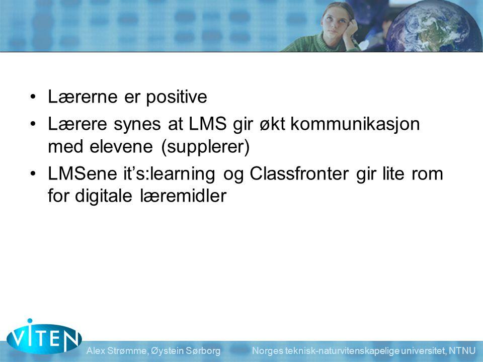 Lærere synes at LMS gir økt kommunikasjon med elevene (supplerer)