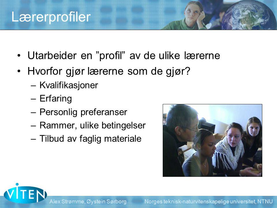 Lærerprofiler Utarbeider en profil av de ulike lærerne