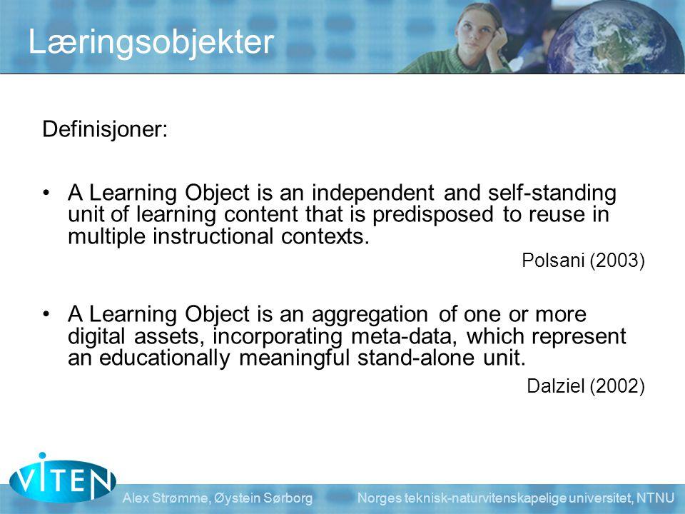 Læringsobjekter Definisjoner: