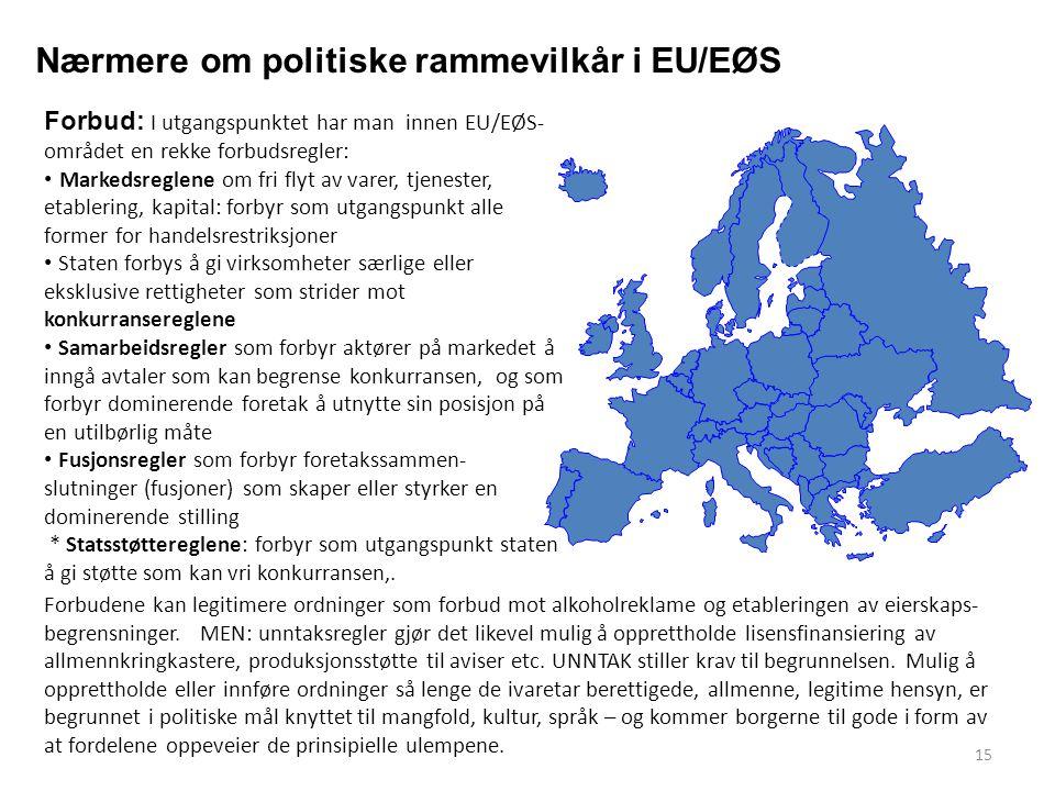 Nærmere om politiske rammevilkår i EU/EØS