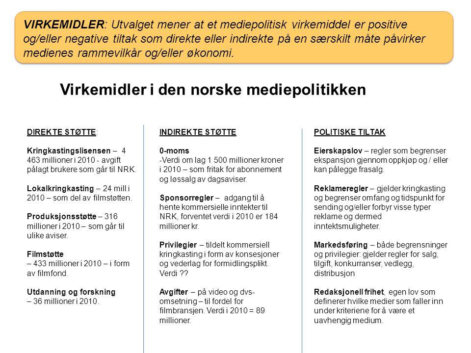 Virkemidler i den norske mediepolitikken