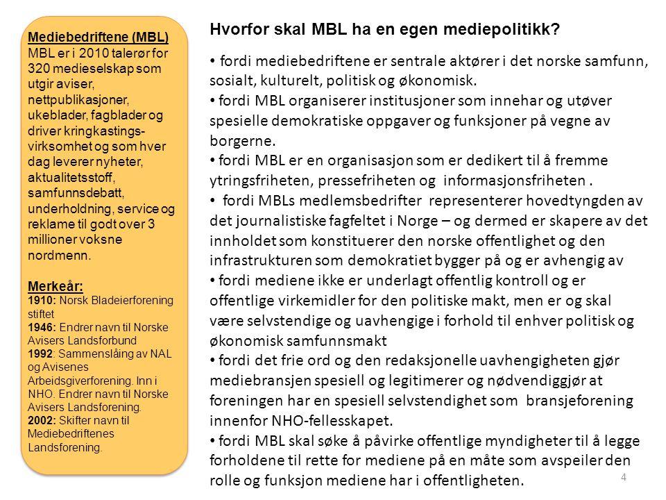 Hvorfor skal MBL ha en egen mediepolitikk