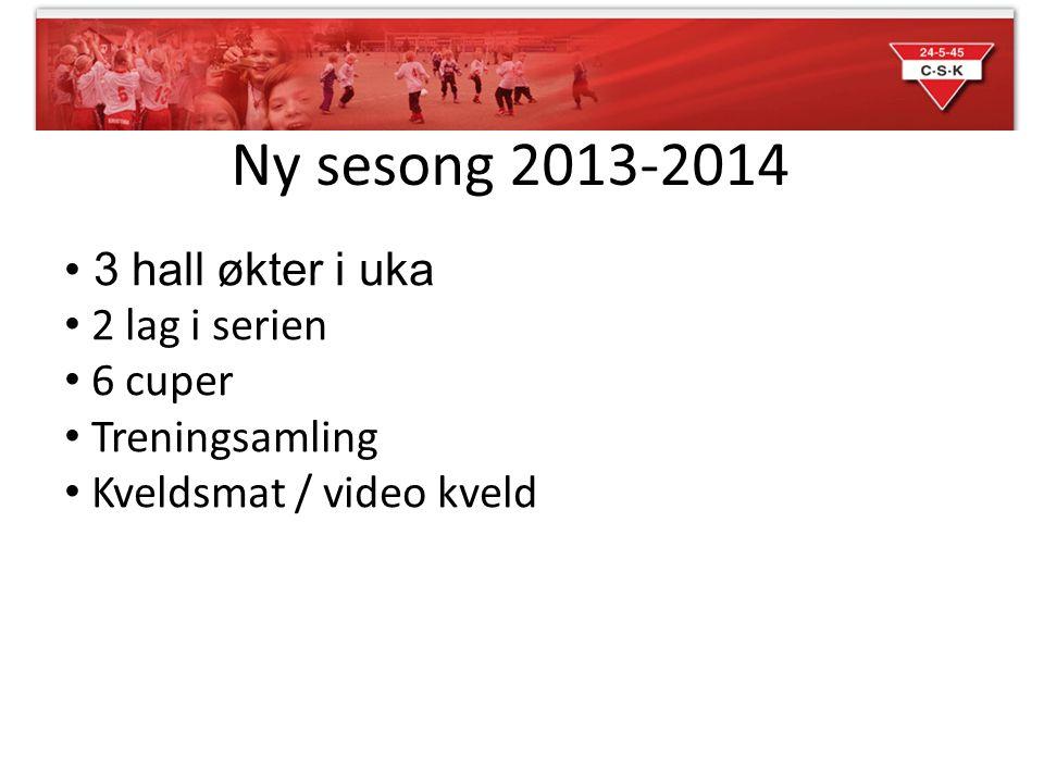 Ny sesong 2013-2014 3 hall økter i uka 2 lag i serien 6 cuper