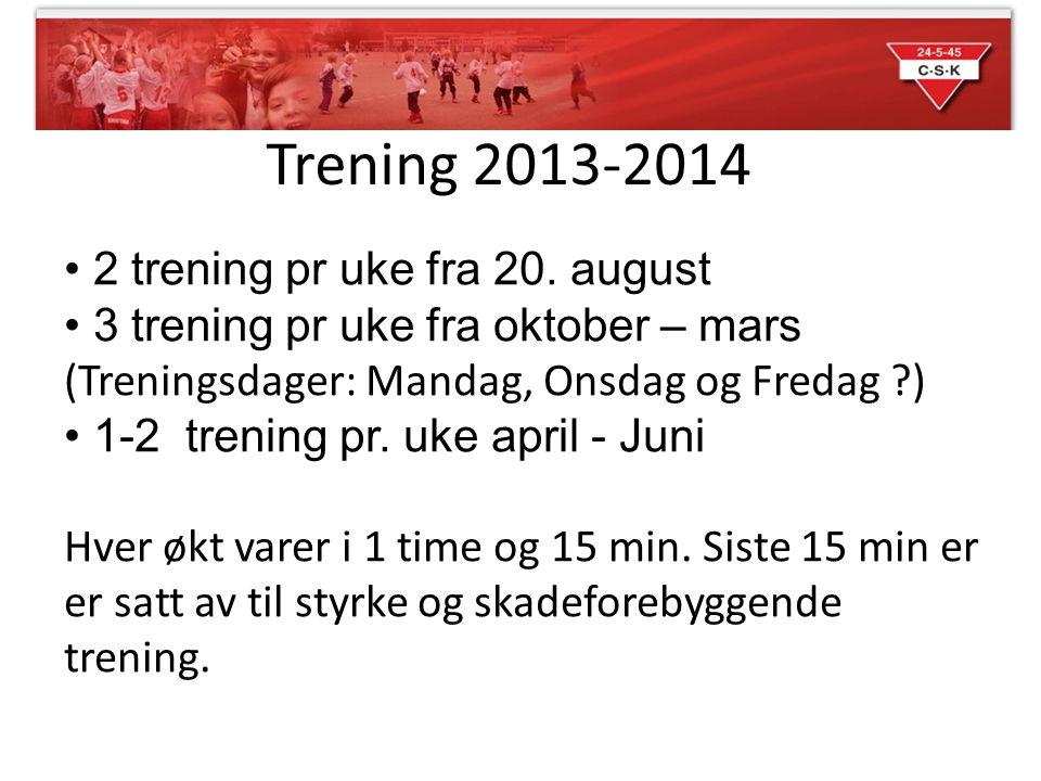 Trening 2013-2014 2 trening pr uke fra 20. august