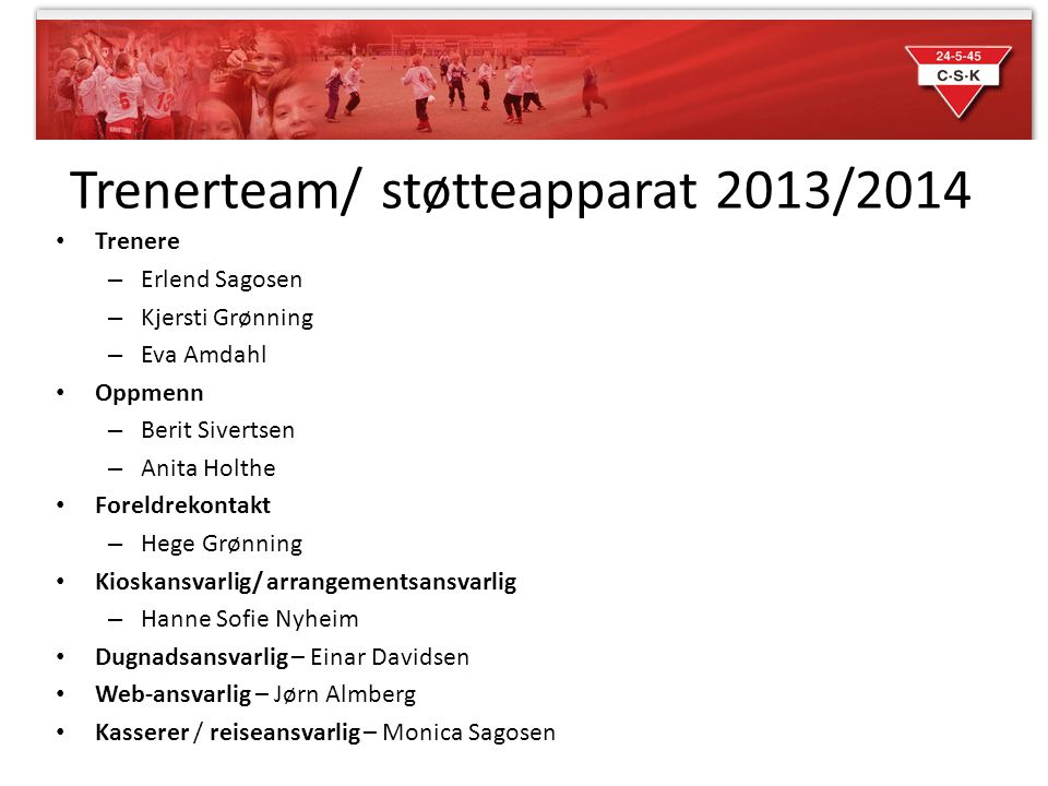 Trenerteam/ støtteapparat 2013/2014