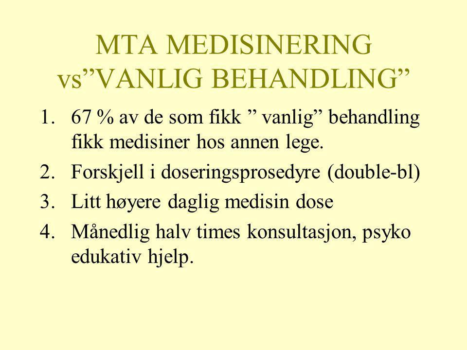 MTA MEDISINERING vs VANLIG BEHANDLING