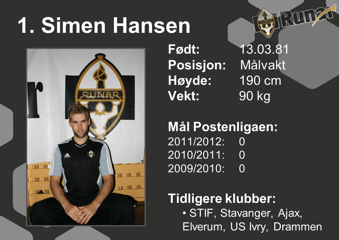 1. Simen Hansen Født: 13.03.81 Posisjon: Målvakt Høyde: 190 cm