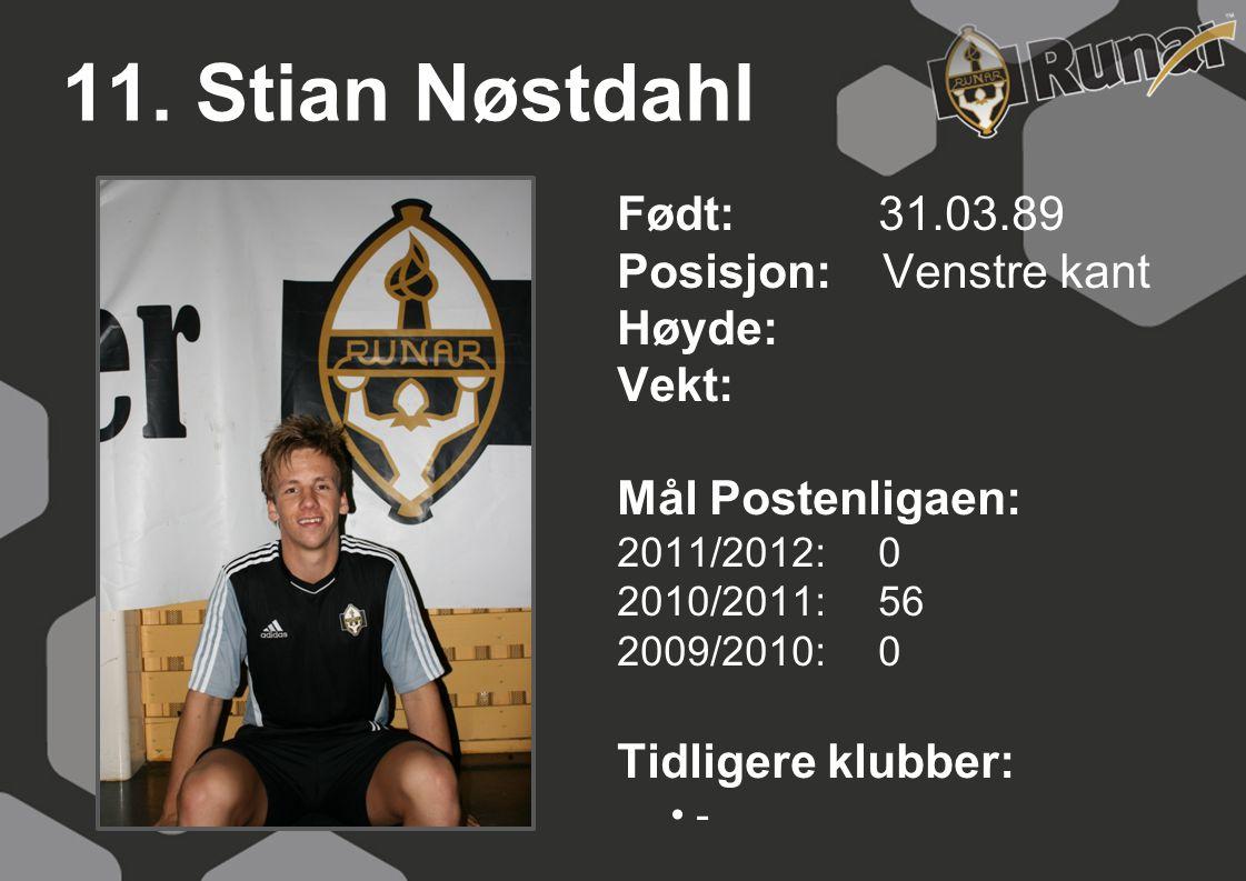 11. Stian Nøstdahl Født: 31.03.89 Posisjon: Venstre kant Høyde: Vekt: