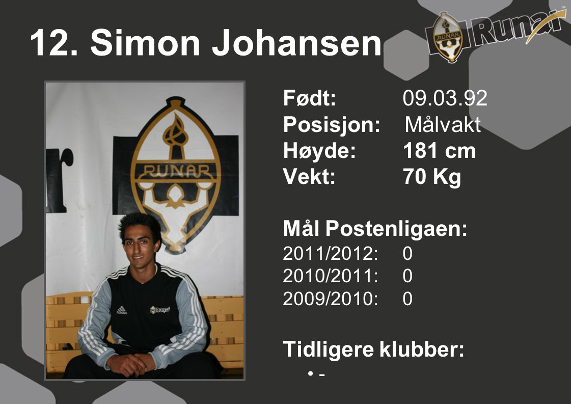 12. Simon Johansen Født: 09.03.92 Posisjon: Målvakt Høyde: 181 cm
