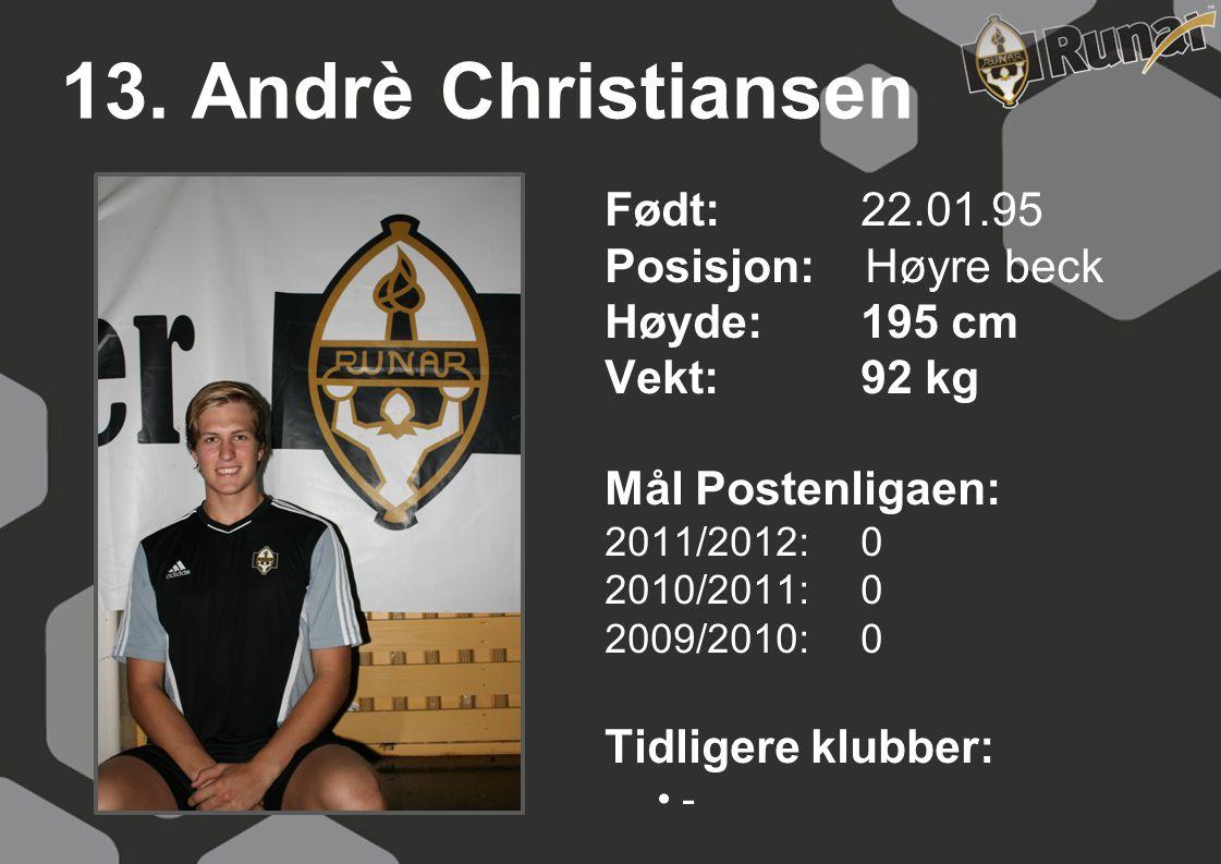 13. Andrè Christiansen Født: 22.01.95 Posisjon: Høyre beck