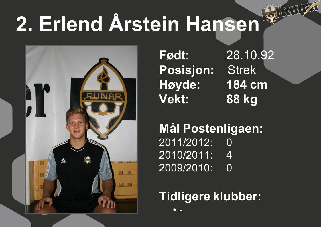 2. Erlend Årstein Hansen Født: 28.10.92 Posisjon: Strek Høyde: 184 cm
