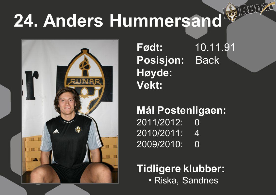 24. Anders Hummersand Født: 10.11.91 Posisjon: Back Høyde: Vekt: