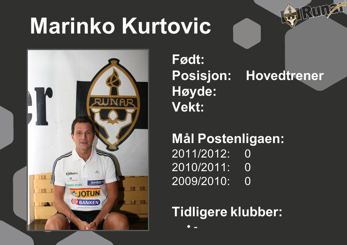 Marinko Kurtovic Født: Posisjon: Hovedtrener Høyde: Vekt: