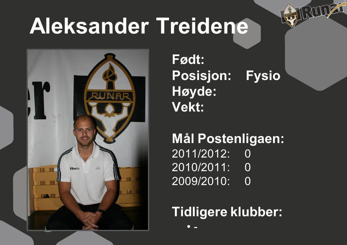 Aleksander Treidene Født: Posisjon: Fysio Høyde: Vekt:
