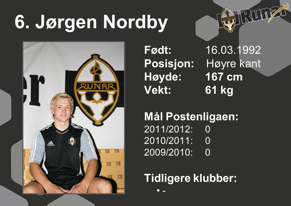 6. Jørgen Nordby Født: 16.03.1992 Posisjon: Høyre kant Høyde: 167 cm