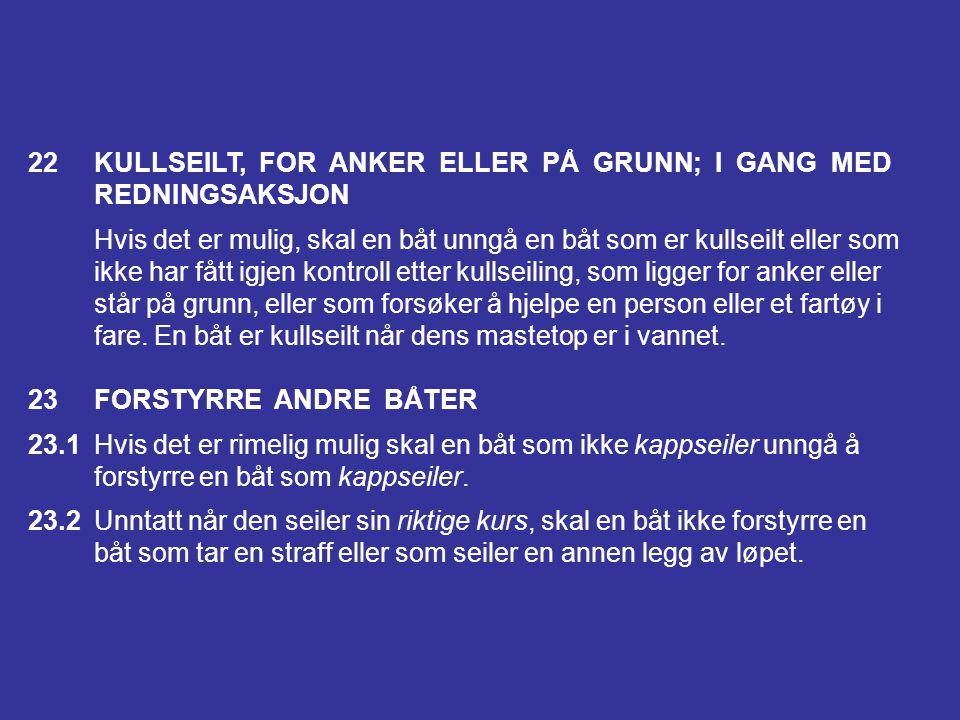 22 KULLSEILT, FOR ANKER ELLER PÅ GRUNN; I GANG MED