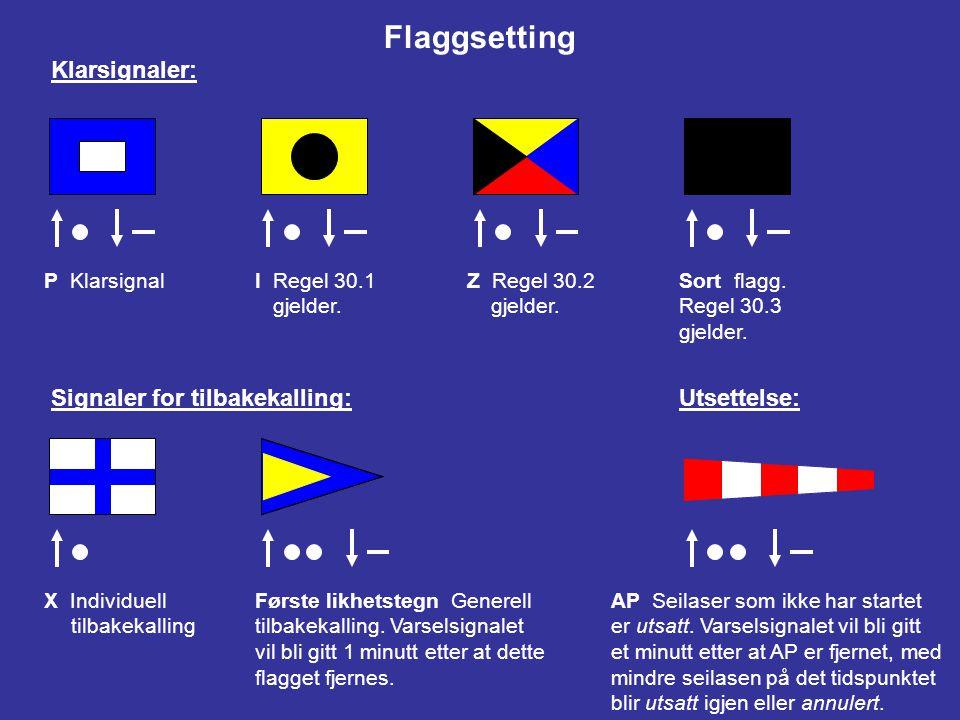 Flaggsetting Klarsignaler: Signaler for tilbakekalling: Utsettelse: