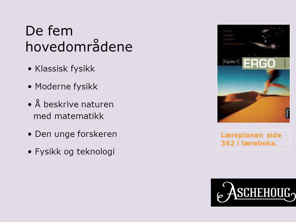 De fem hovedområdene Klassisk fysikk Moderne fysikk Å beskrive naturen