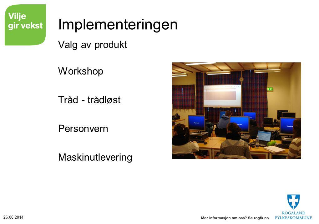 Implementeringen Valg av produkt Workshop Tråd - trådløst Personvern