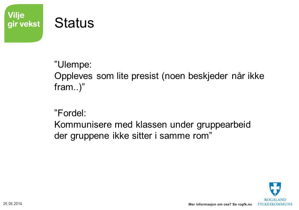 Status Ulempe: Oppleves som lite presist (noen beskjeder når ikke fram..)