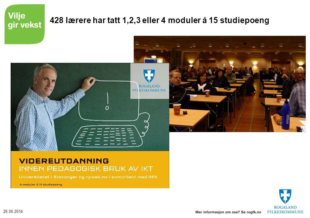 428 lærere har tatt 1,2,3 eller 4 moduler á 15 studiepoeng