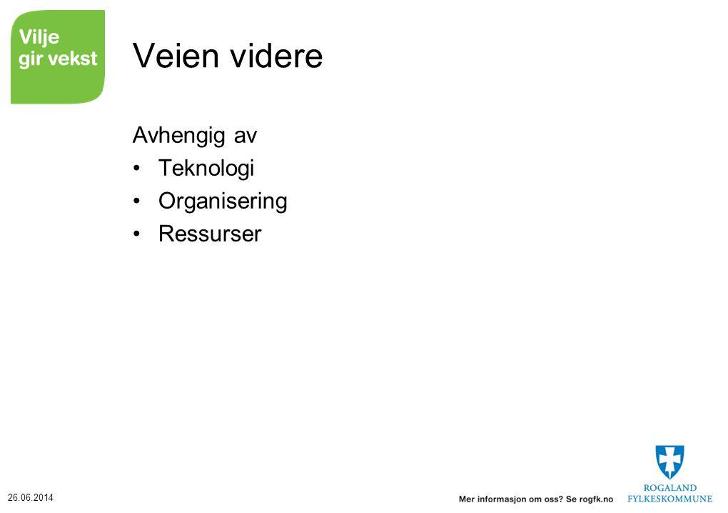 Veien videre Avhengig av Teknologi Organisering Ressurser Tore