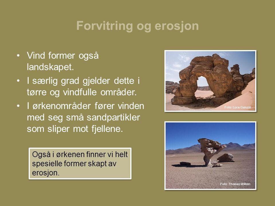 Forvitring og erosjon Vind former også landskapet.