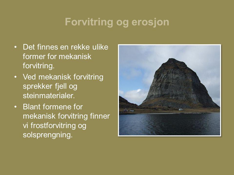 Forvitring og erosjon Det finnes en rekke ulike former for mekanisk forvitring. Ved mekanisk forvitring sprekker fjell og steinmaterialer.