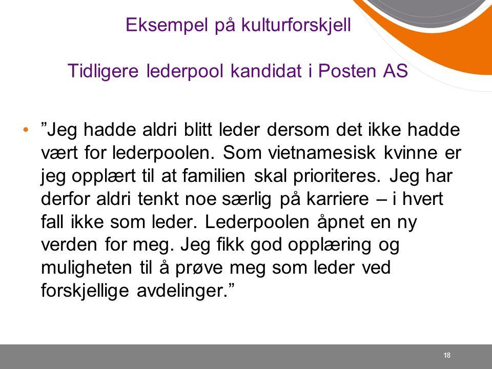 Eksempel på kulturforskjell Tidligere lederpool kandidat i Posten AS