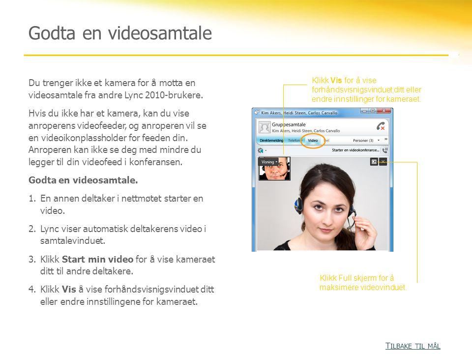 Godta en videosamtale Du trenger ikke et kamera for å motta en videosamtale fra andre Lync 2010-brukere.