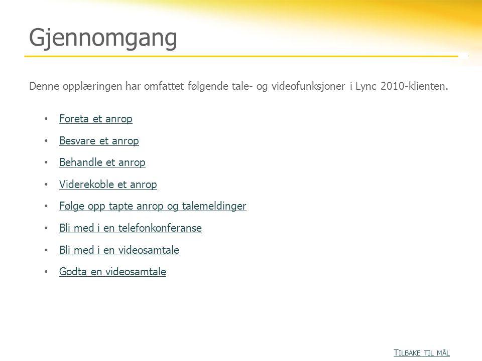 Gjennomgang Denne opplæringen har omfattet følgende tale- og videofunksjoner i Lync 2010-klienten. Foreta et anrop.