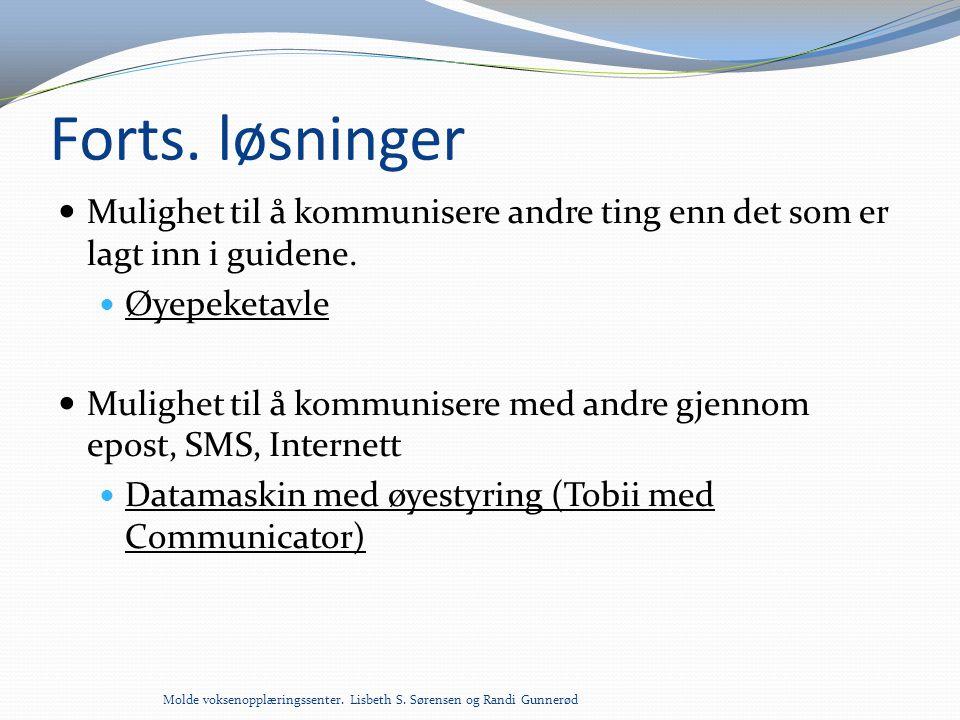 Forts. løsninger Mulighet til å kommunisere andre ting enn det som er lagt inn i guidene. Øyepeketavle.